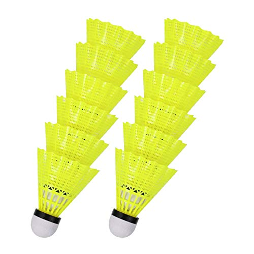 HMwish 12x Federbälle gelb Badmintonbälle für Training & Wettkampf Badminton - Feder Ball/Bälle Federball für Outdoor & Indoor