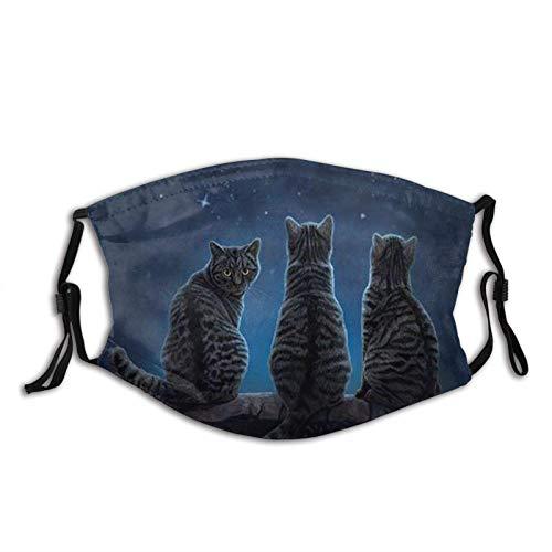 Gatos Wish Upon A Star - Pasamontañas ajustables y reutilizables para unisex con 2 filtros