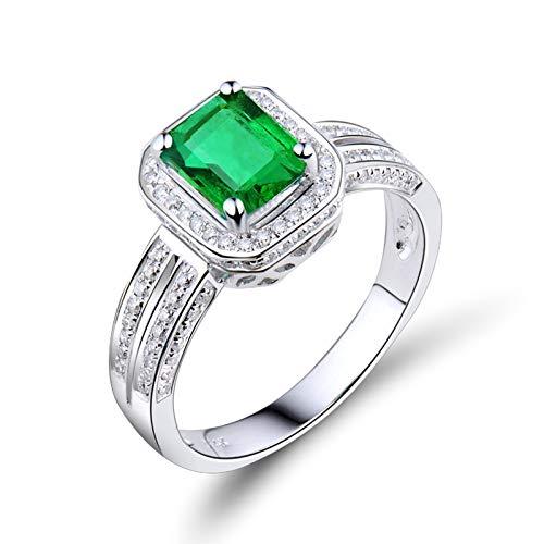 KnSam Damen Ring, 4 Stift Rechteck Smaragd Diamanten Eheringe Echtgold 18 Karat (750) Weißgold Verlobungsring Gold Herren Verlobungsringe Rosegold Hochzeitringe Weiß Gold 53 (16.9)