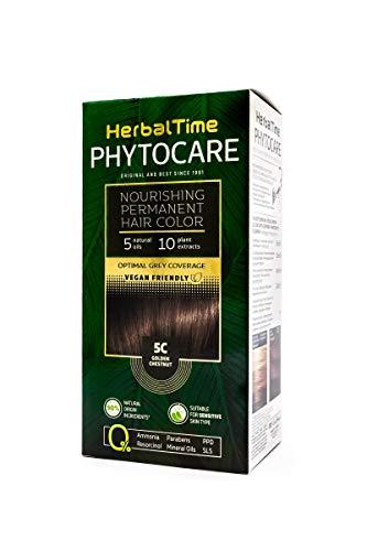 Phytocare Tinte permanente y nutritivo para cabello sin amoniaco, sin PPD, sin SLS, sin parabenos Color Castaño Dorado 5C