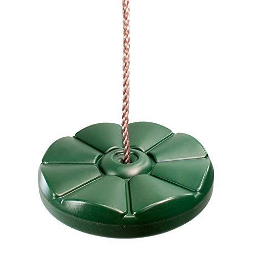 Columpio de Disco Redondo De Plástico Verde Con Cuerdas Sedosas y Resistentes a la Intemperie