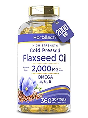 Flaxseed Oil 2000mg | 360 Softgel Capsules | High Strength Omega 3 6 9 | ALA | Cold Pressed | Non-GMO, Gluten Free Supplement