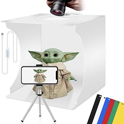 LightBox Fotografia Prodotto portatile Fotocamera Tenda per foto Tenda per gioielli bianchi Soft-Box Pieghevoli Kit per cabina fotografica Studio fotografico 6 colori Sfondo commutabile 3 colori 30 cm