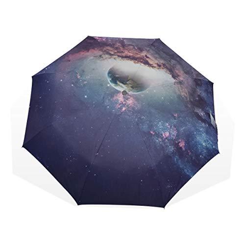 Reiseregenschirm Universum Szene Mit Planeten Anti Uv Kompakt 3 Falten Kunst Leichte Faltbare Regenschirme (Außendruck) Winddicht Regen Sonnenschutz Regenschirme Für Frauen Mädchen Kinder
