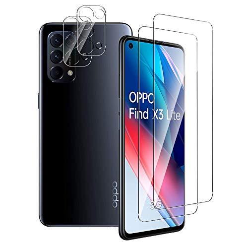 Aerku Panzerglas Bildschirmschutzfolie für Oppo Find X3 Lite 5G [2Stück] + Kamera Panzerglas Schutzfolie [2Stück], 9H HD Anti-Kratzer Folie Ultra Glatte Film Bildschirmschutzfolie-Transparent