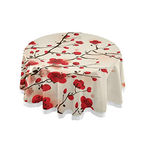 ALAZA Red Cherry Blossom Flower Vintage 60 x 60 Inch Table Cloth for Round Tables with Elastic Tablecloth Anti Wrinkle Table Cover for Dining Kitchen Parties