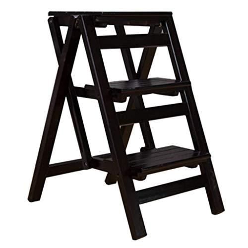 AYHa Taburetes para el hogar, taburete plegable multifuncional Silla de escalera con 3 escalones para la escalera de madera para el hogar Carga máxima ensanchada 120 kg Trabajo pesado para el jardín