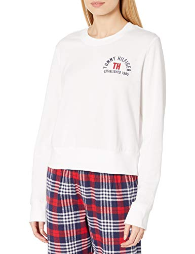 Tommy Hilfiger Women's Logo Tee Sweathshirt Pajama Top, Bright White, M