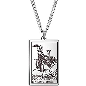 Retro Vintage Stainless Steel Tarot Card Rider Waite Pendant Necklace (Knight of Cups)