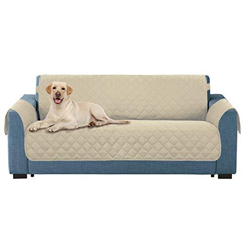E-Living Store Protector de Muebles Reversible con Correa elástica de 2 Pulgadas, Lavable a máquina, Mascotas y niños, Ancho de Asiento de hasta 54 Pulgadas, Beige Loveseat