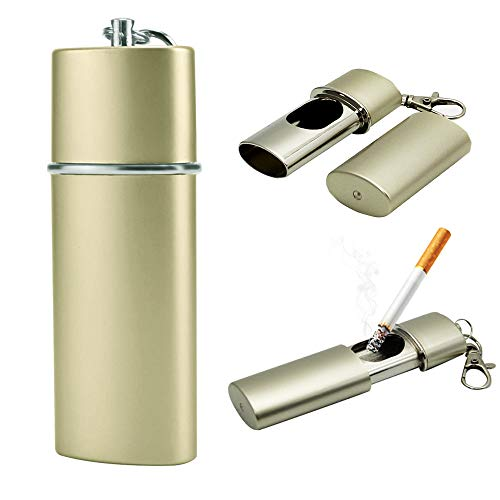 NGE携帯灰皿 おしゃれ キーホルダー スライド式 カラビナ 防水 持ち運び アウトドア (シャンパンゴールド)