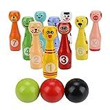 VGEBY Jouet Bowling Set, Kit de Jouets Educatifs pour Enfants Jeu de Bowling Dessins Animés en Bois Animaux 10 Bouteilles de Bowling + 3 Boules