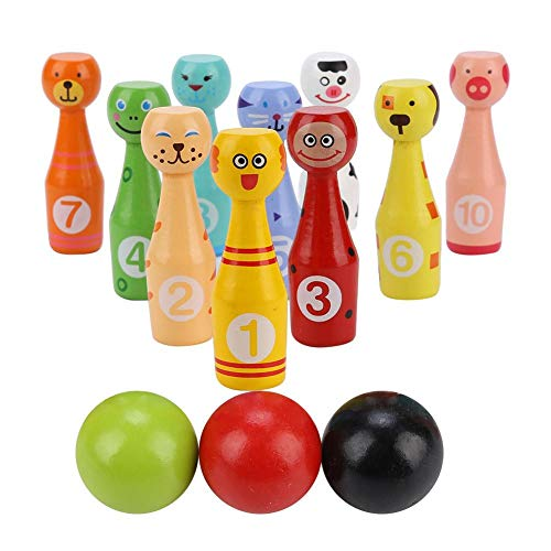 Alomejor Mini Kinder Bowling Ball Set Holz Kegelspiel Set mit 10 Kegel und 3 Bowling Bällen Pädagogische Spielzeug