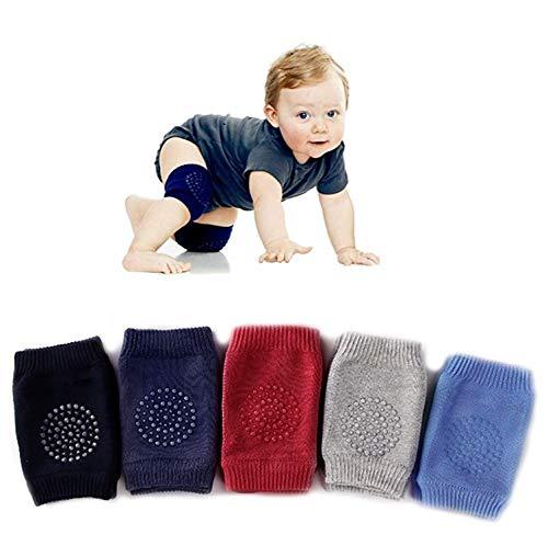 5 Pairs Baby Crawling Anti-Slip Knee Pads, Baby Toddlers Kneepads Baby Leg Warmers (Dark Blue)