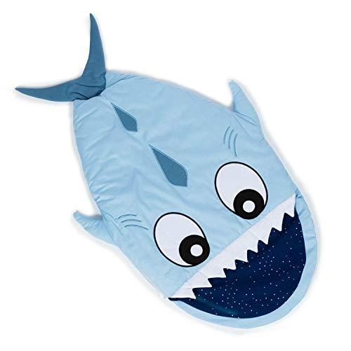 all Kids United Kinder Schlafsack aus Baumwolle - Hai-Fisch Wintersack & Kinderwagen Pucksack für Klein-Kinder