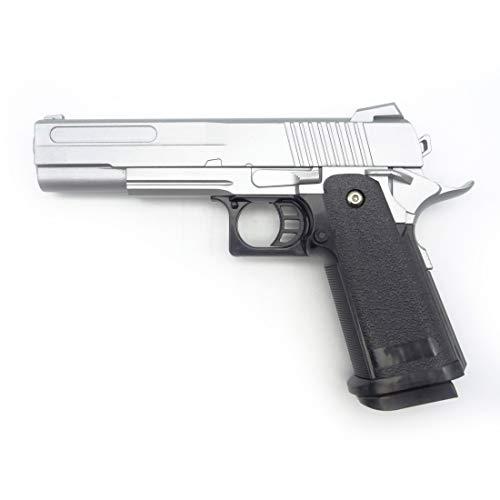 Softair Pistole Voll Metall Rayline RV19 Silver (Manuell Federdruck), Nachbau im Maßstab 1:1, Länge: 23cm, Gewicht: 530g, Kaliber: 6mm, Farbe: Silber - (unter 0,5 Joule - ab 14 Jahre)