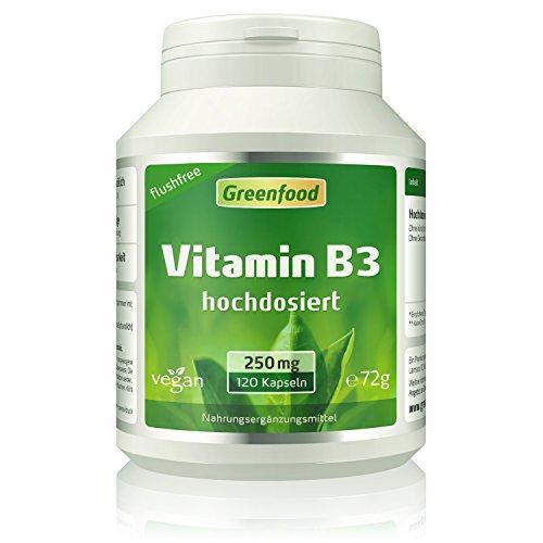 """Vitamin B3, flushfree, 250 mg, hochdosiert, 120 Vegi-Kapseln – fördert die Produktion von Serotonin (""""Glückshormon"""") und sorgt für Ausgeglichenheit. OHNE künstliche Zusätze. Ohne Gentechnik. Vegan."""