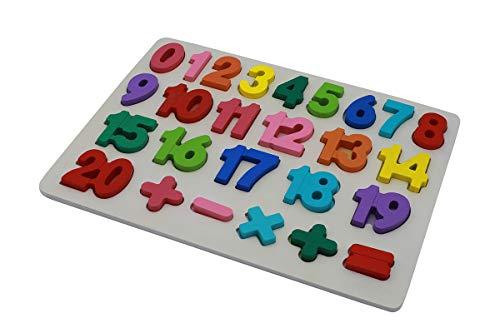 Bebé Número de Madera Que aprende Jigsaw Puzzle Board Shape Numbers Puzzle Toy para niños 25 Piezas