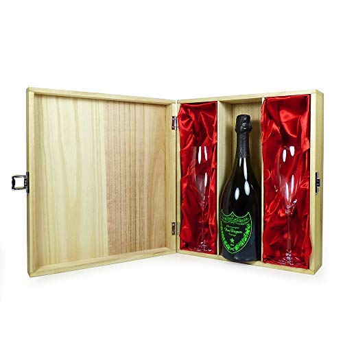Dom Perignon Luminous Label Champagne 75cl With Dom Perignon Flutes Presented in a Keepsake Wooden Case - Ideas for Christmas, Birthday, Anniversary, Business and Corporate