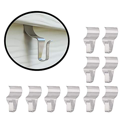 eatelle No-Hole Needed Hooks Low Profile Vinyl Siding Clips for Hanging, Outdoor Hooks Heavy Duty Stainless Steel Outdoor Light Mailbox Planter Decorations Wreath Hanger Clips 10 Pack