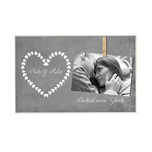 Fotogeschenk aus Holz, personalisiert mit Namen, Holzbild für Fotos, Geschenkidee für die Freundin, den Freund, für Paare zu Weihnachten uvm.