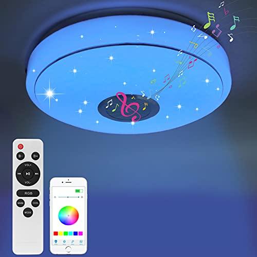 Deckenleuchte 36W, Led Deckenleuchte mit Fernbedienung/APP Steuerung, Deckenlampe Led RGB mit Bluetooth Lautsprecher, Dimmbar, Farbtemperatursteuerung, für Schlafzimmer Kinderzimmer Wohnzimmer (33CM)