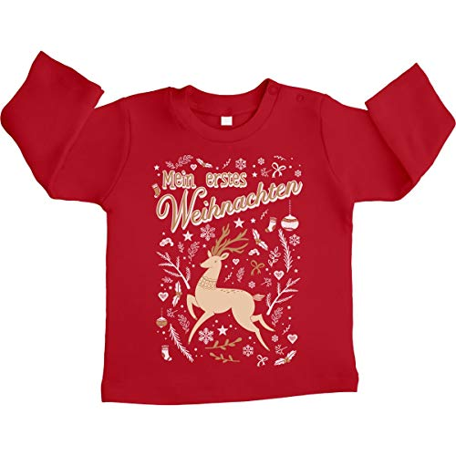 Shirtgeil Mijn eerste kerstmis gouden rendier unisex baby shirt met lange mouwen maat 66-93