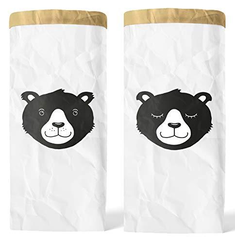 Lifestyle Lover 2er Pack Papiersack Paper Bag rund Kraftpapier Beutel Braun Weiß (Herr & Frau Bär)