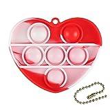 Mllkcao Fidget Toys Simple Dimple POPIT Schlüsselanhänger Liebe Herzform Squeeze Sensory Spielzeug Bunt Novelty Drücken Fingerspielzeug für Kinder und Erwachsene