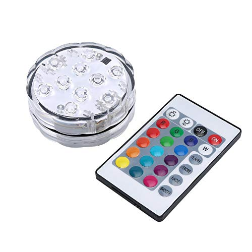 CNmuca 10 Led Control Remoto RGB Luz Sumergible Funciona con Pilas Lámpara subacuática Nocturna Florero al Aire Libre Tazón Fiesta de jardín