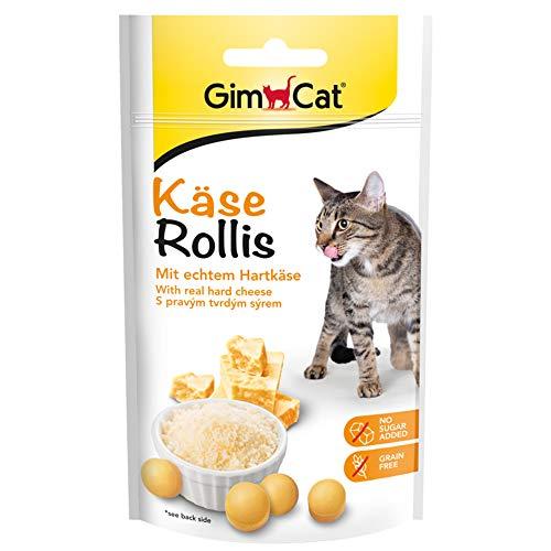 GimCat Rollis, friandises au fromage – Snack pour chats sans céréales et riche en vitamines au véritable fromage à pâte dure – Lot de 1 (1 x 40 g)
