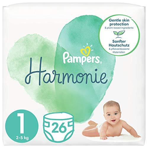 Pampers Baby Windeln Größe 1 (2-5kg) Harmonie, 26 Stück, Tragepack, Sanfter Hautschutz Und Pflanzenbasierte Inhaltsstoffe
