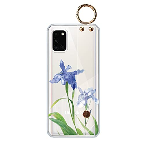 Samsung Galaxy A30 対応 花柄 ケース, CrazyLemon 薄型 透明 おしゃれ 綺麗 可愛い ブルー パープル 花 緑の葉 絵柄 パターン ストラップ ホルダー 付き ソフト クリアー シリコン ケース カバー 耐衝撃 全面保護 - Flower Case 10