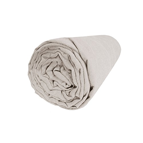 BLANC CERISE Drap Housse en Lin lavé véritable 180x200 cm - Bonnet 30cm