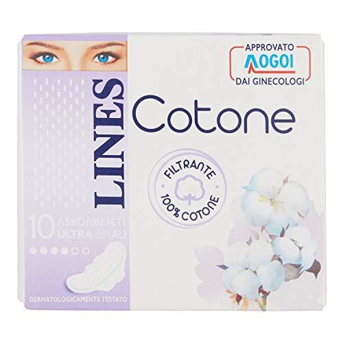 Lines Assorbenti Ultra con Ali 100% Cotone, 10 Assorbenti