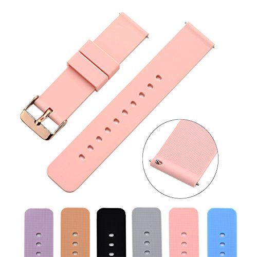 MLQSS 18mm Silicone Watch Band with Spring Bars for Withings Steel HR/Pop/Fossil Q Gen 3 Venture/Gen4 Venture/Venture HR/Ticwacth C2/vivoactive 4S Strap
