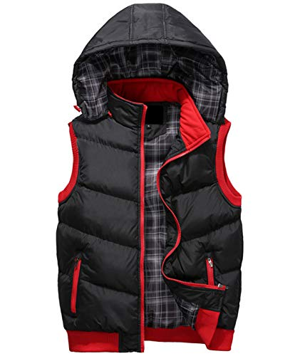 Wantdo Women's Quilted Padding Puffer Vest with Removable Hooded Olive Large