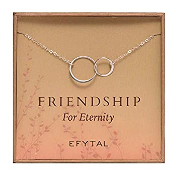 EFYTAL Best Friend Gifts Sterling Silver Friendship for Eternity Necklace Two Interlocking Infinity Circles Gift For Best Friend