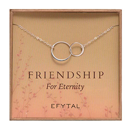 EFYTAL Best Friend Gifts, 925 Sterling Silver Friendship for Eternity Necklace, Two Interlocking Infinity Circles Gift For Best Friend, Birthday Gift Ideas