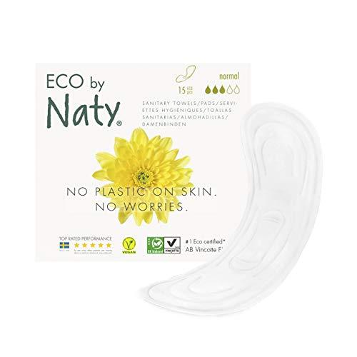 Eco by Naty, Serviettes hygiéniques, Regular, 15 serviettes. Absorbant et fine. Fabriquées à partir de fibres végétales. Vegan. 0% plastique.