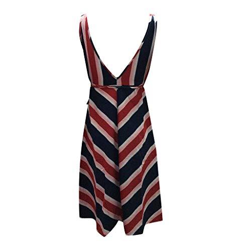 MA87 The Fashion Women's Summer Fashionable Sexy Beach V-Collar Stripe Dress (XL)