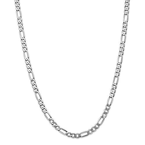 Diamond2deal Oro bianco 14K 5.5mm Figaro catena moschettone, 50,8cm
