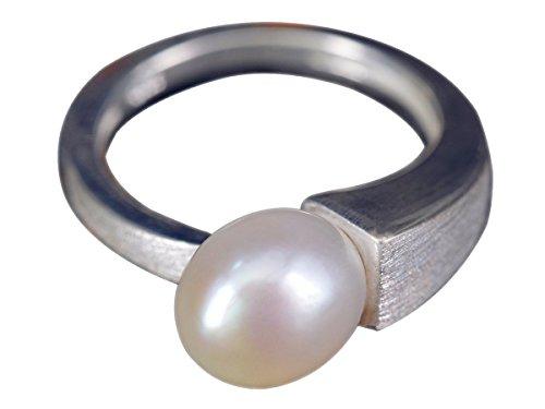 NicoWerk Silberring Perle Schlicht Matt Gebürstet Klare linie Weiss Ring Silber 925 Verstellbar Damenringe Damen Schmuck Sterling SRI274