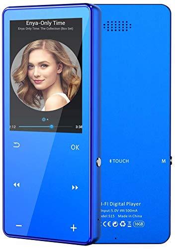 ANTCOOL (R) MP3-Player mit Bluetooth 4.2, Touch-Tasten mit 2,4-Zoll-Bildschirm, 16 GB tragbarer, verlustfreier digitaler Audio-Player mit FM-Radio, Blau