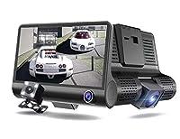 カーダッシュカム 3ウェイカメラダッシュカム4インチIPSスクリーンダッシュカム重力感知駐車監視ダッシュカーカーフロントおよびリア170°、ループ録画