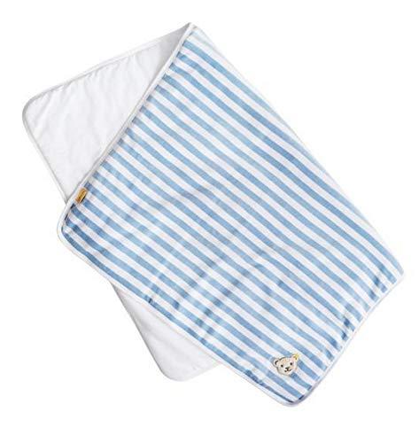 Steiff Unisex Baby Jersey mit Blockstreifen Decke, Cerulean, One Size