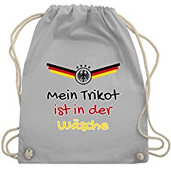 Shirtracer Fussball EM 2021 Fanartikel - Mein Trikot ist in der Wäsche Deutschland - Unisize - Hellgrau - kinder deutschland trikot - WM110 - Turnbeutel und Stoffbeutel aus Baumwolle