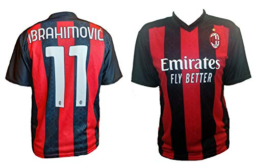 Movida87 Milan Zlatan Ibrahimovic Jersey 2020-2021 Kids Boys IBRA (8 Years) Red and Black