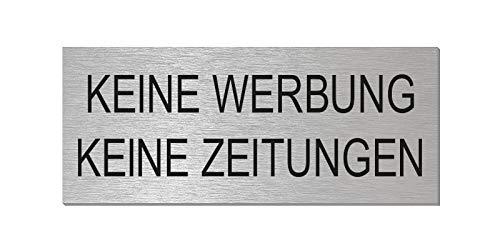 Briefkastenschild Keine Werbung - Keine Zeitungen | Aluminium Edelstahl-Optik | selbstklebend | 60×25 mm | Ofform Original Schild | Nr.29012-S