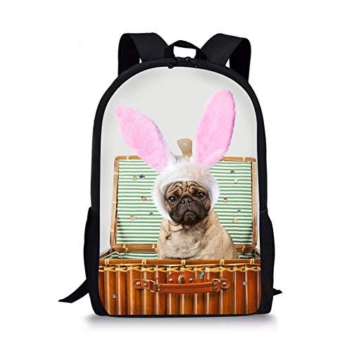 3D Bag, Cute Child Bag Pug Child Backpack Pug Dog Primary School Backpack 3D Backpack Dog Picture Child Decompression, Casual Daypacks white2